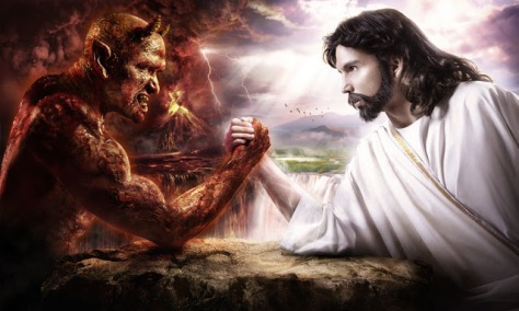 jesus arm-wrestling with satan demon[1]